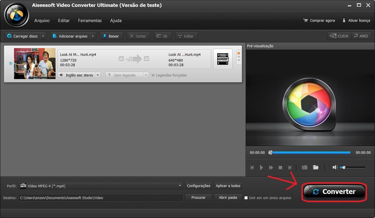 Inicie a conversão de seus arquivos MP4 para AVI