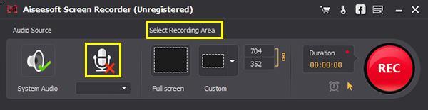 Ajuste as configurações do programa screen recorder