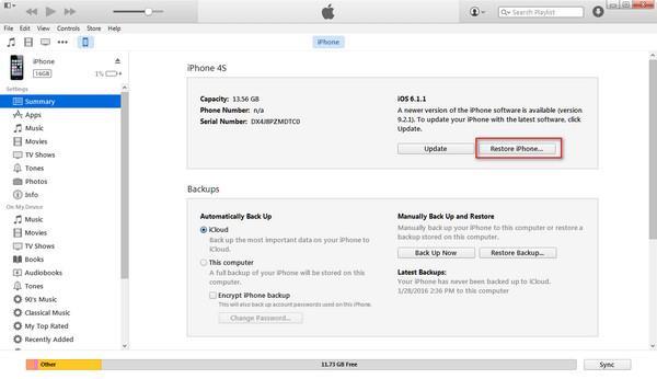 Use o iTunes para desbloquear seu iPhone