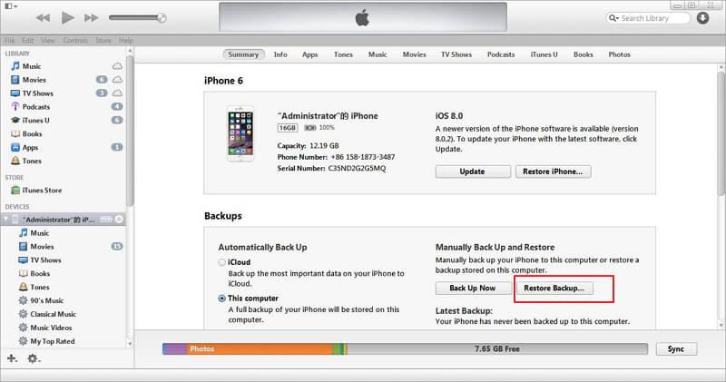 Restaure o backup de seu iPhone antigo