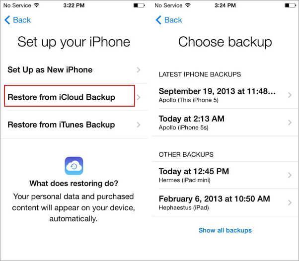 Restaure seu backup do iCloud