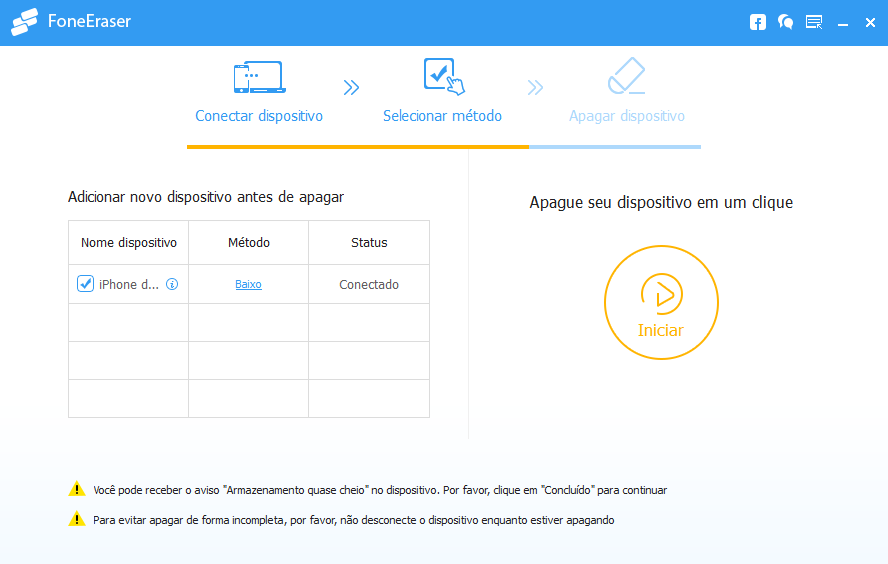 Conectar dispositivo ao FoneEraser