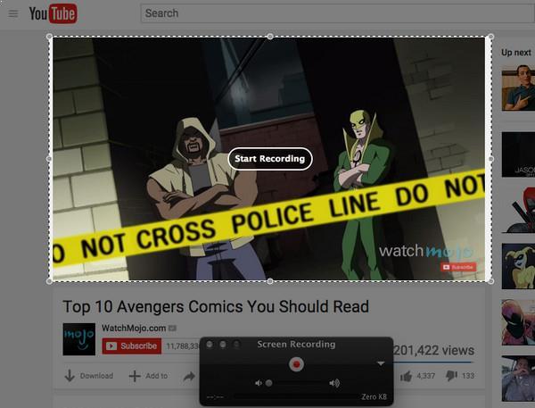 Selecione a área do vídeo para gravação