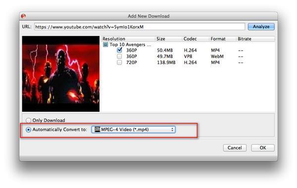 Inicie a conversão do vídeo baixado para o formato selecionado