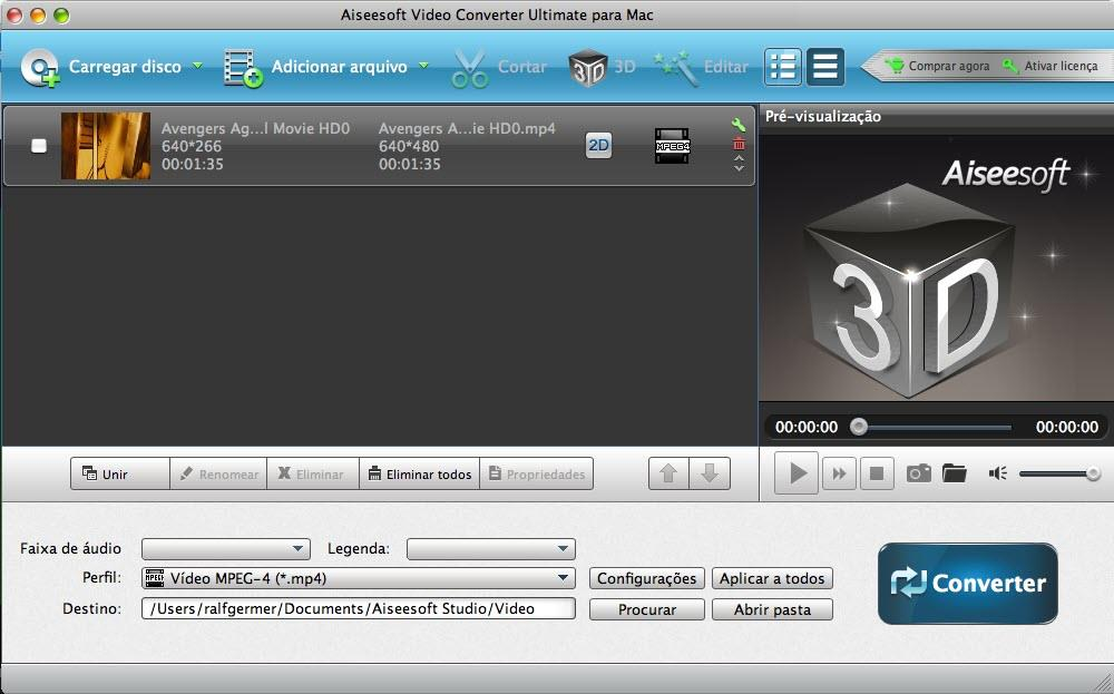 Importe seus arquivos para o programa Video Converter Ultimate