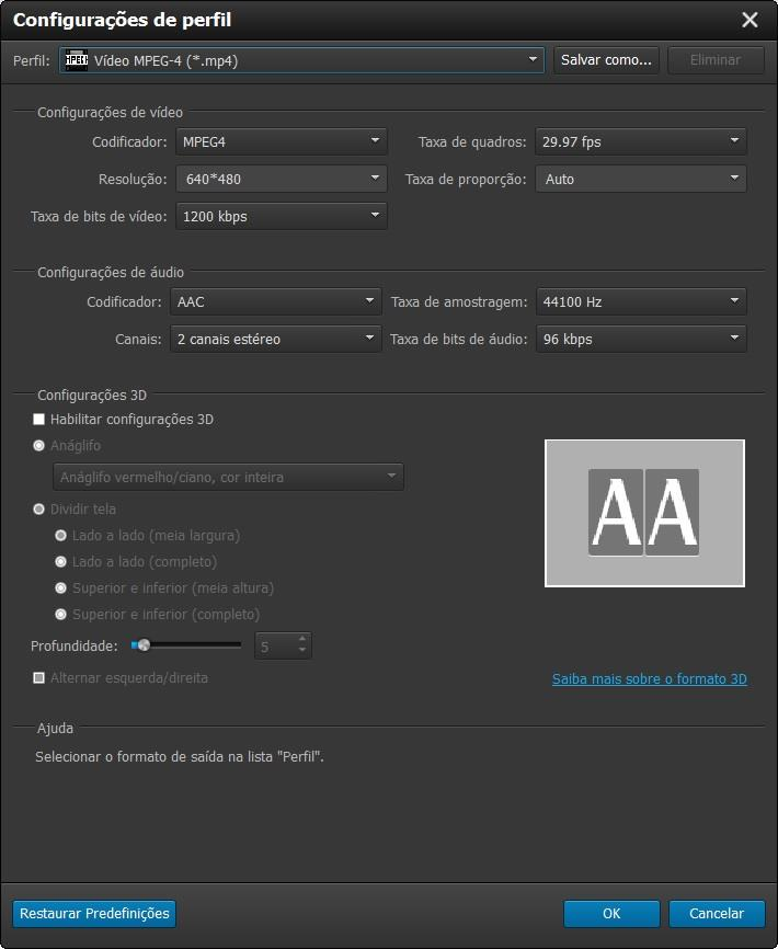 Ajuste os parâmetros de conversão dos seus vídeos