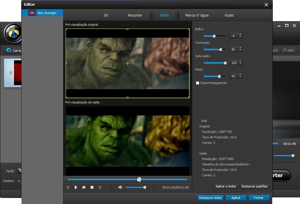 Ajuste os efeitos do seu vídeo