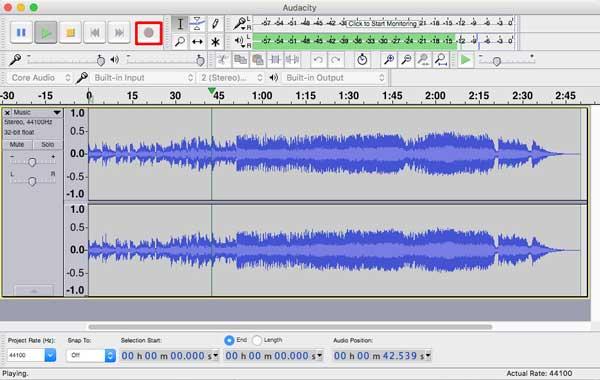 Inicie sua gravação de áudio