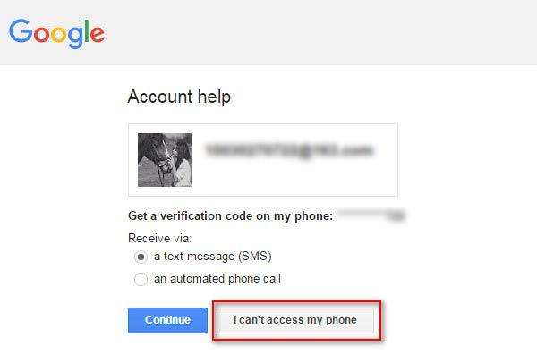 Selecione a opção Não é possível acessar meu telefone
