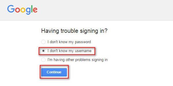 Não sei meu nome de usuário