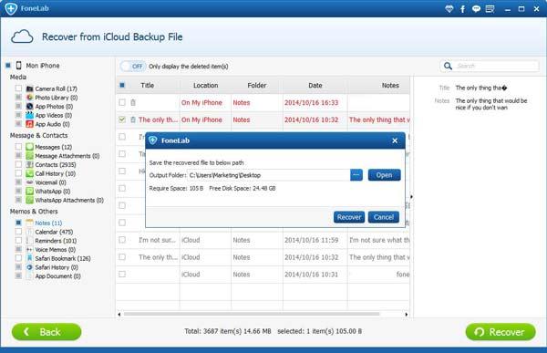 Visualize os arquivos contidos no backup