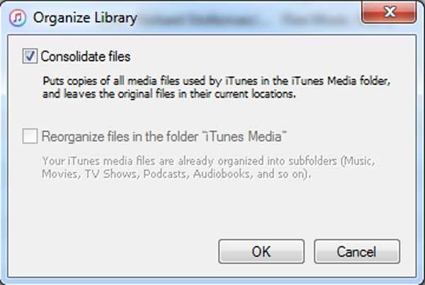 Marque a opção Consolidar arquivos