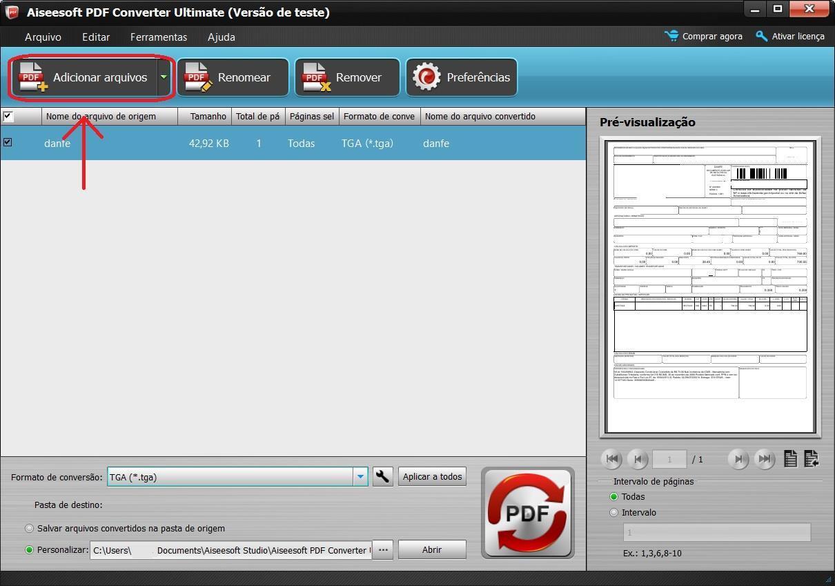 Importe seus arquivos em PDF para o programa