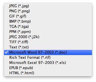 Selecione o formato DOC