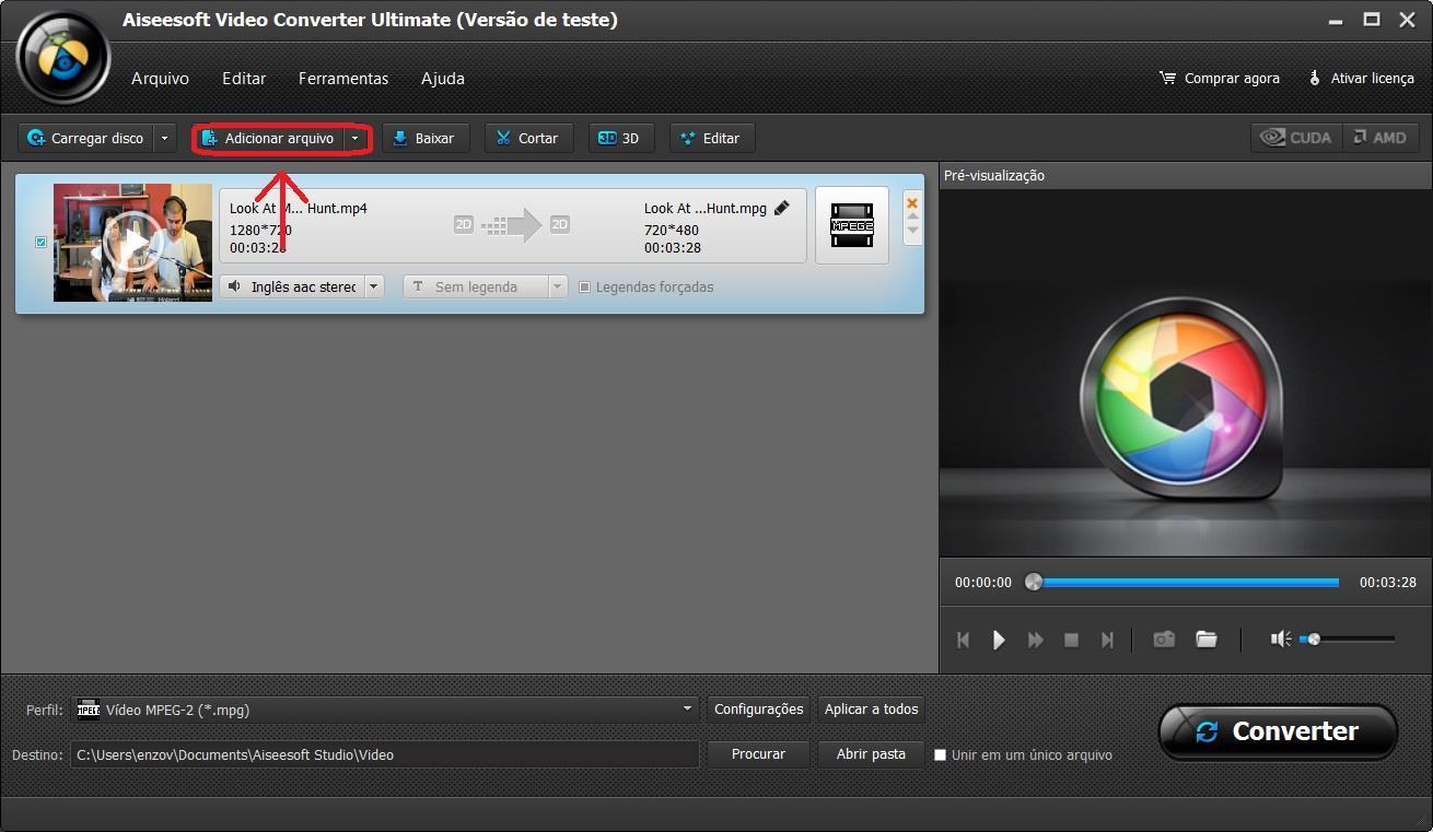 Importe seus vídeos para o programa