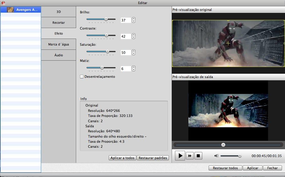 Edite seu vídeo no Video Converter para Mac como desejar