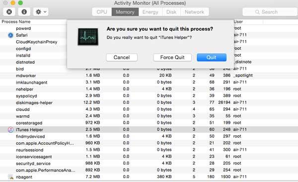 Feche o processo do iTunes