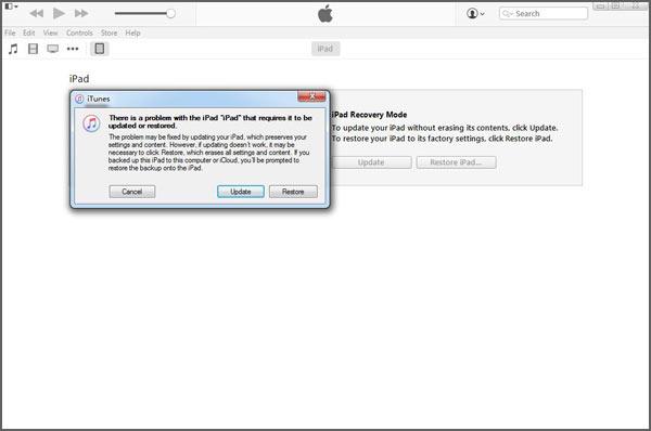 Restaure seu iPad com o iTunes