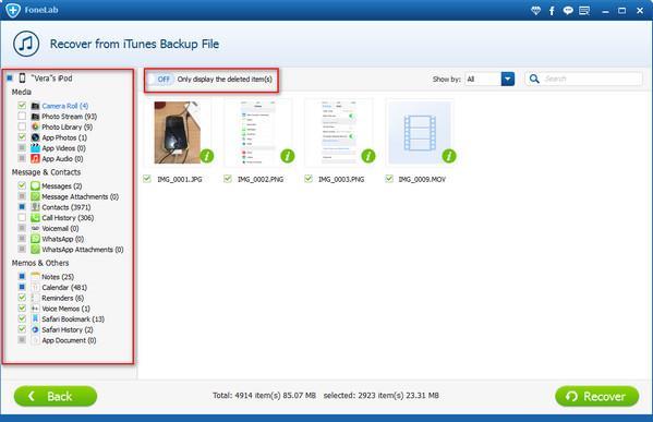 Visualize os arquivos presentes no backup