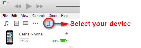 Ícone do seu dispositivo iOS no iTunes