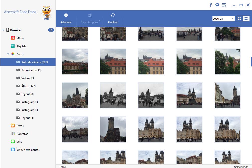 Selecione as fotos para passar fotos do celular para o notebook