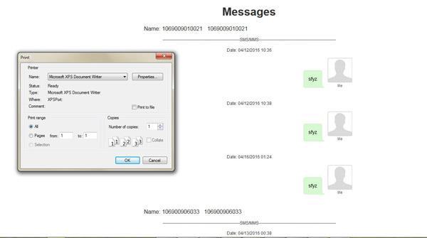 Imprima suas mensagens de texto