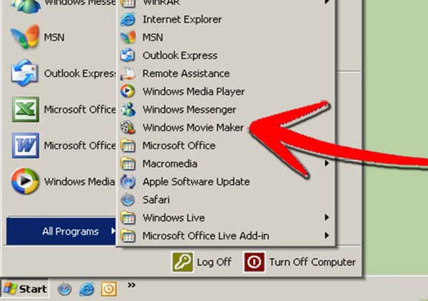 Abra o Windows movie Maker