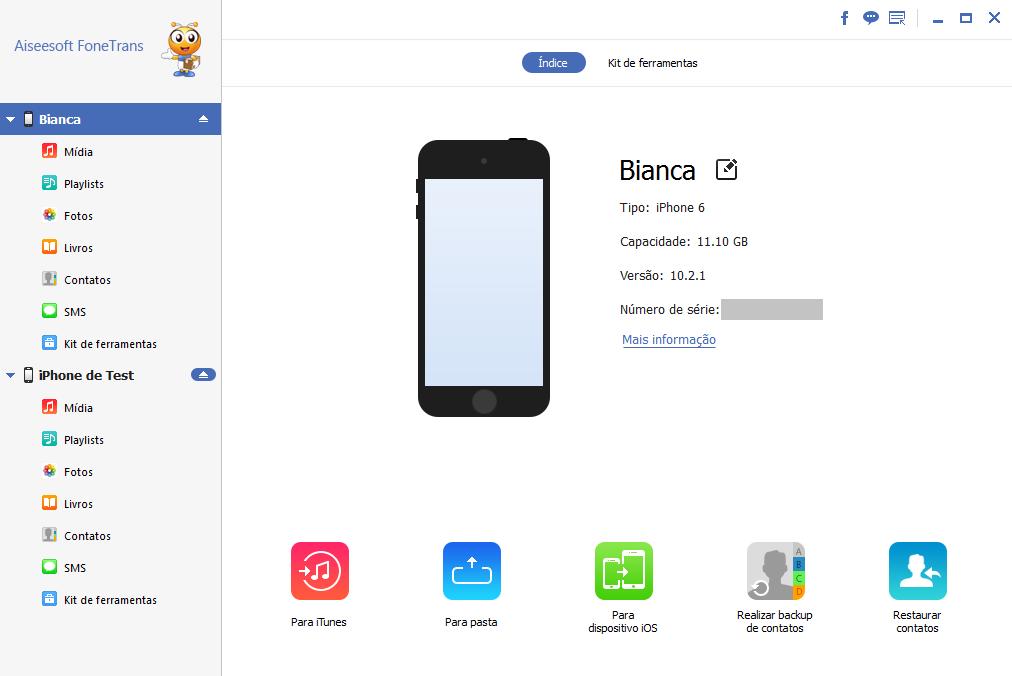 Abra o FoneTrans e conecte seu iPhone