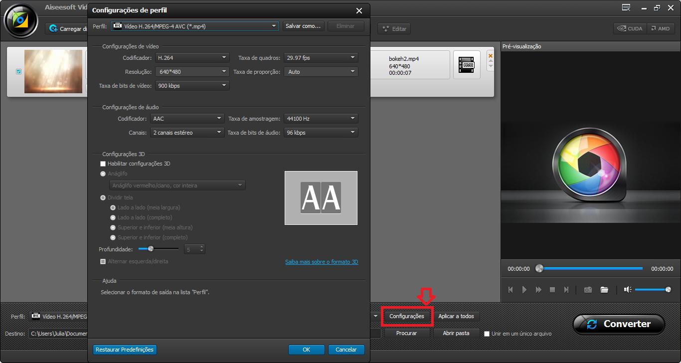 É possível editar o vídeo MP4 antes de realizar a conversão