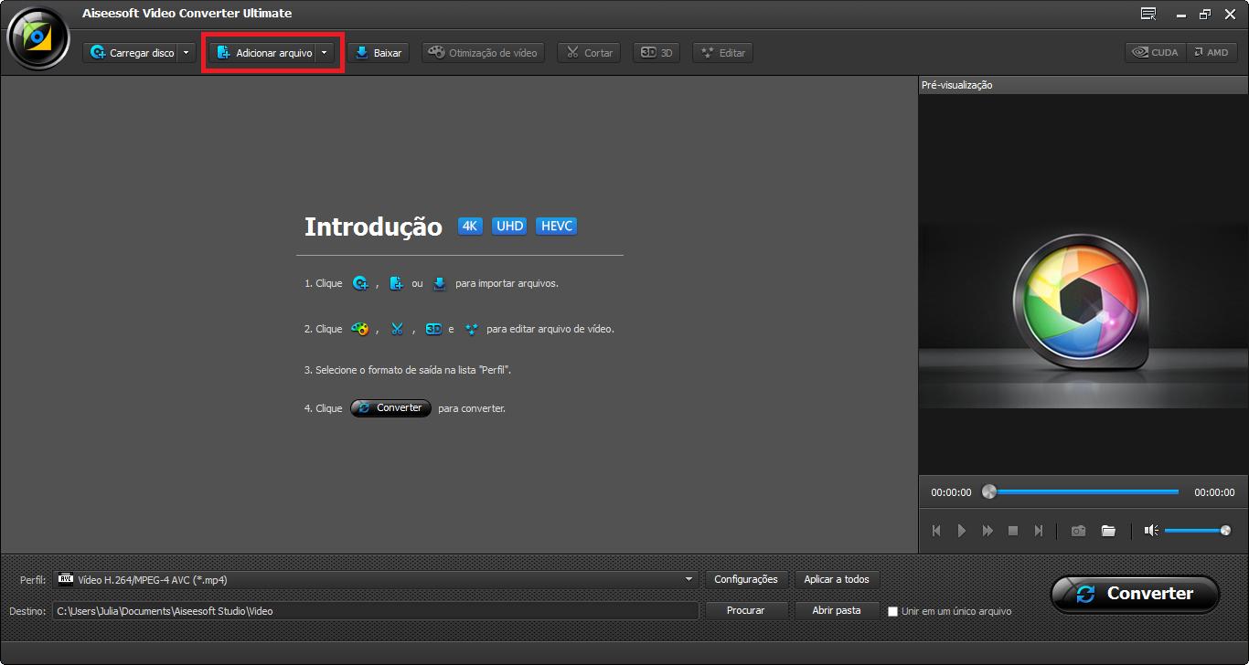 Abrir o Video Converter Ultimate e importar o arquivo .mp4 para o programa