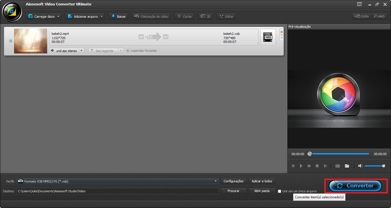 Finalizar a conversão de MPEG para WMV