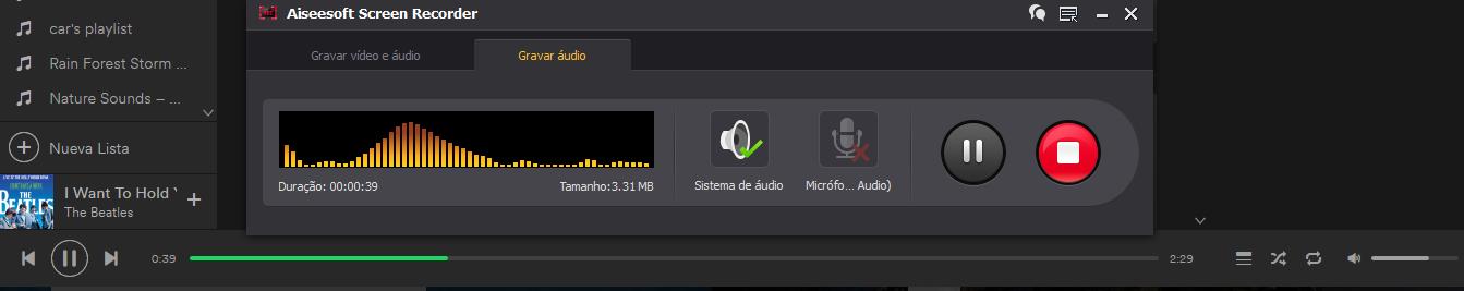 Gravar áudio em streaming - Spotify