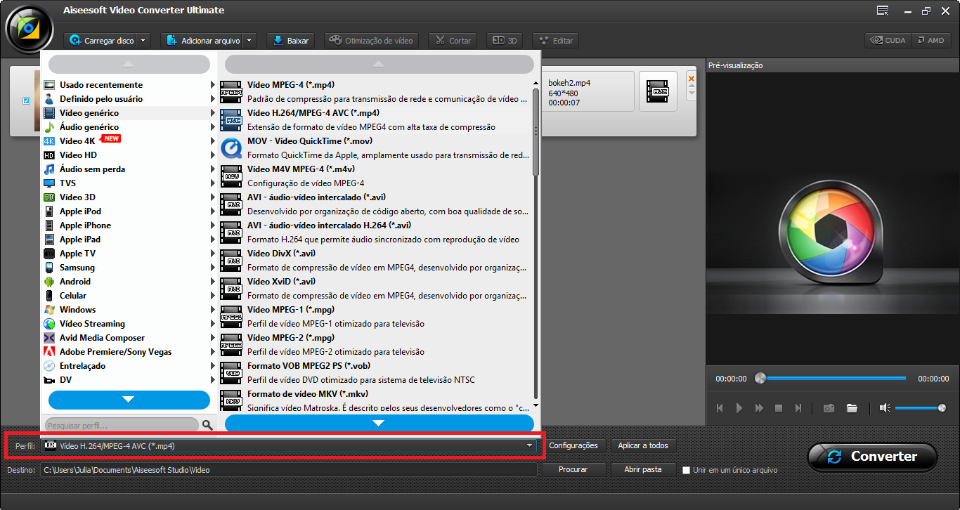 Selecione o perfil de conversão MPEG