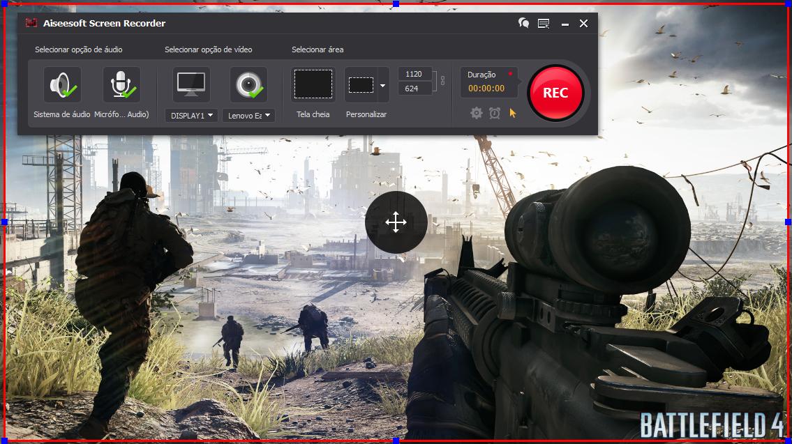 Abra o Battlefield 4 e clique no botão REC para começar a gravar