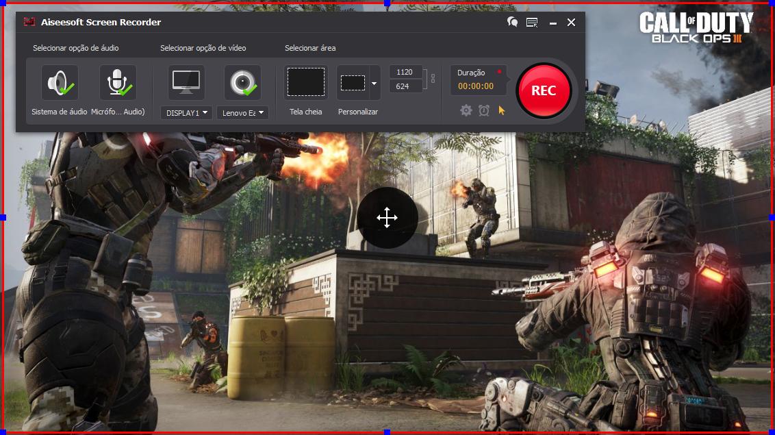 Abra o Call of Duty: Black Ops 3 e clique no botão REC para começar a gravar