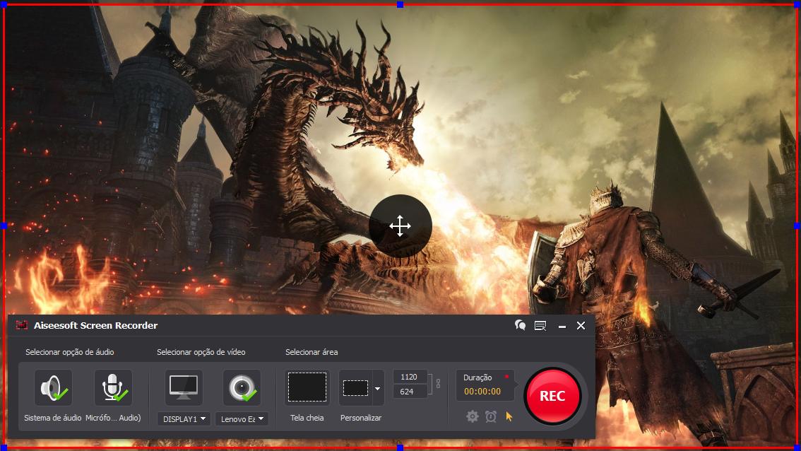 Abra o Dark Souls 3 e clique no botão REC para começar a gravar
