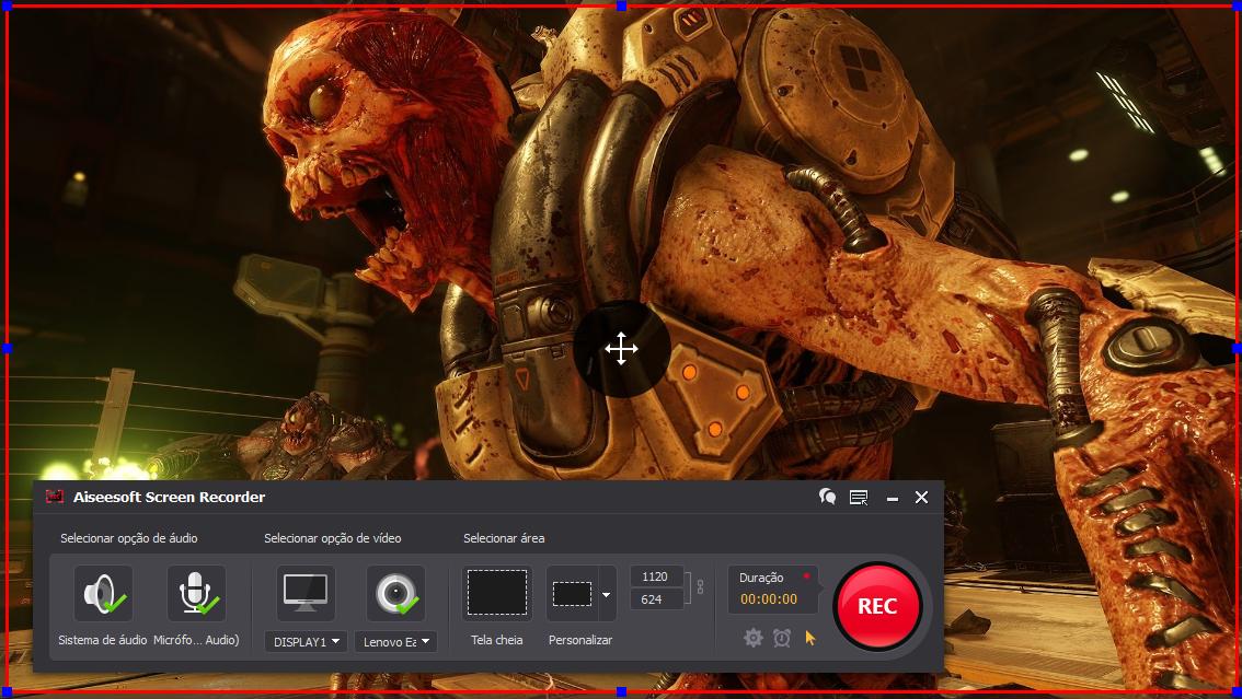 Abra o Doom e clique no botão REC para começar a gravar