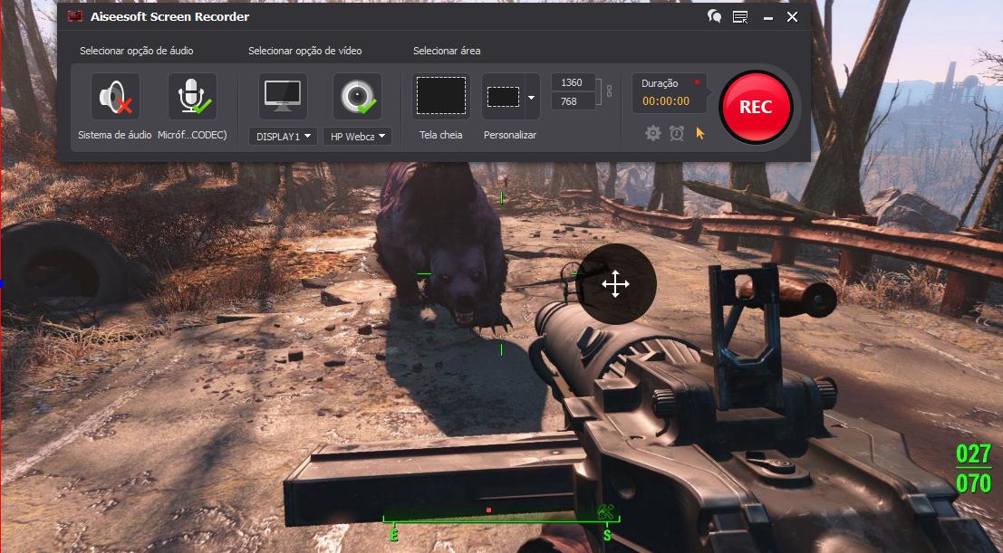 Abra o Fallout 4 e clique no botão REC para começar a gravar