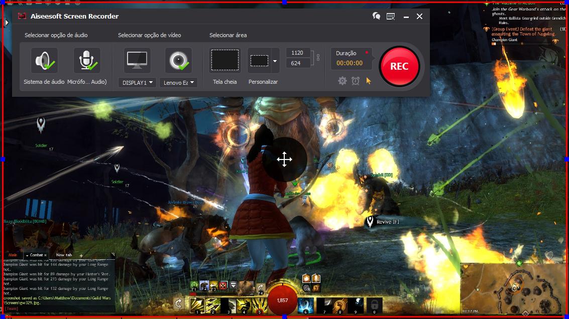 Abra o Guild Wars 2 e clique no botão REC para começar a gravar