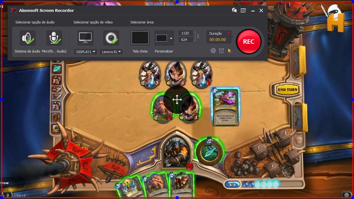 Abra o Hearthstone: Heroes of Warcraft e clique no botão REC para começar a gravar
