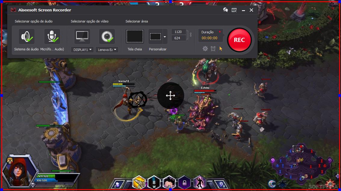 Abra o Heroes of the Storm e clique no botão REC para começar a gravar