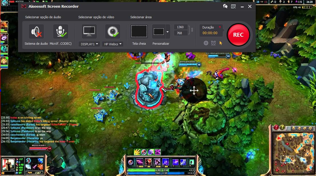 Abra o League of Legends e clique no botão REC para começar a gravar