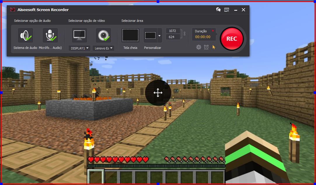 Abra o Minecraft e clique no botão REC para começar a gravar