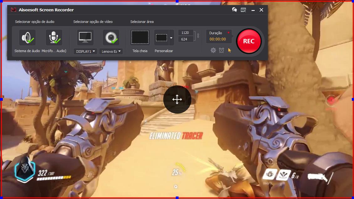 Abra o Overwatch e clique no botão REC para começar a gravar