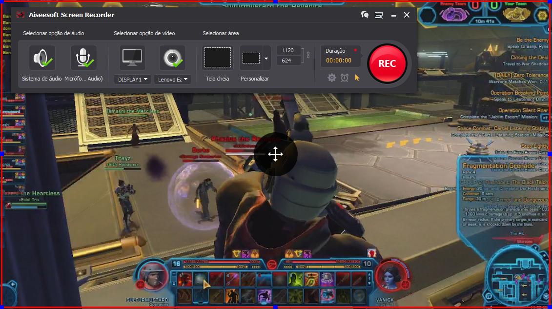 Abra o Star Wars: The Old Republic e clique no botão REC para começar a gravar