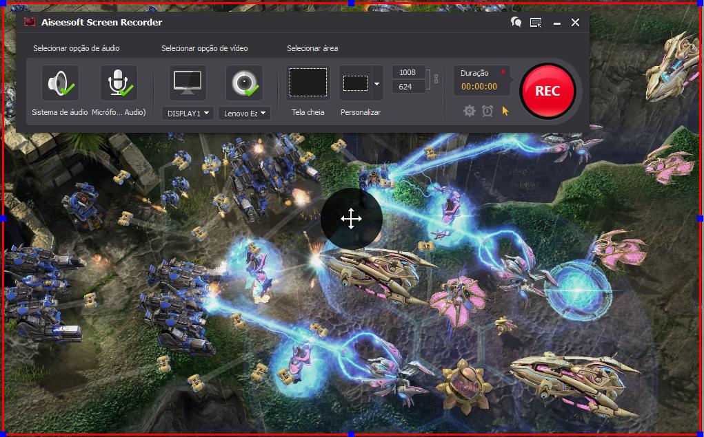 Abra o StarCraft 2 e clique no botão REC para começar a gravar