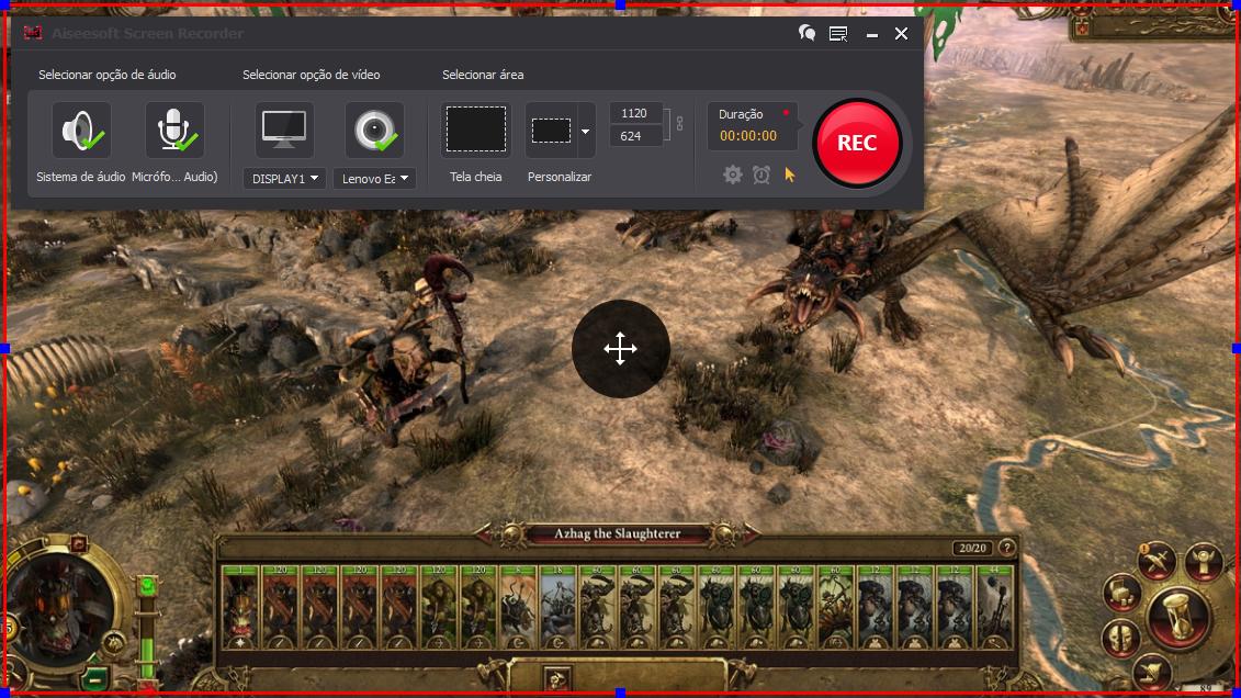 Abra o Total War: Warhammer e clique no botão REC para começar a gravar