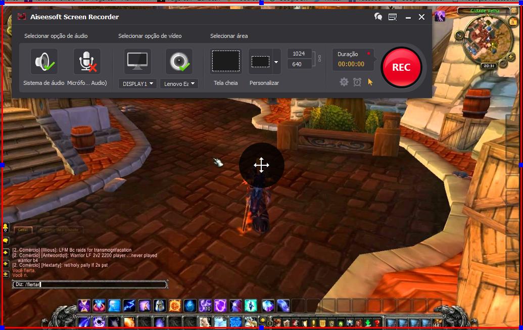 Abra o World of Warcraft e clique no botão REC para começar a gravar