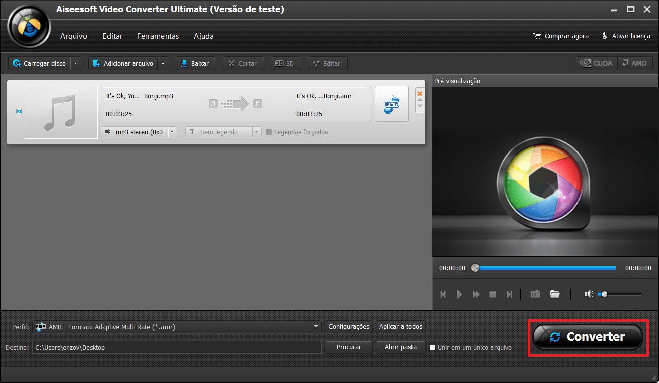 Inicie a conversão de seus arquivos AMR para MP3