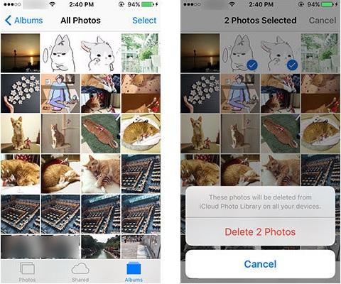 Borrar fotos del iPhone